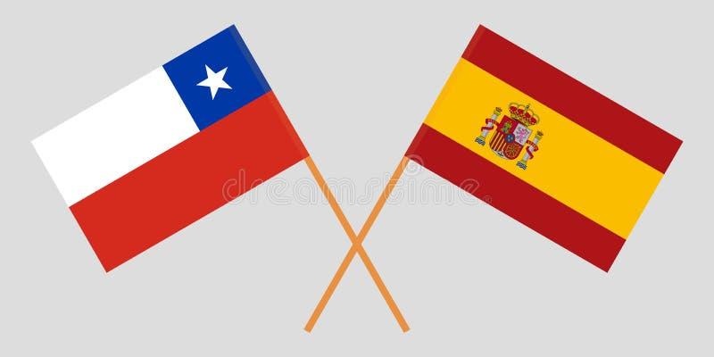 Chile y Espa?a Banderas chilenas y españolas stock de ilustración