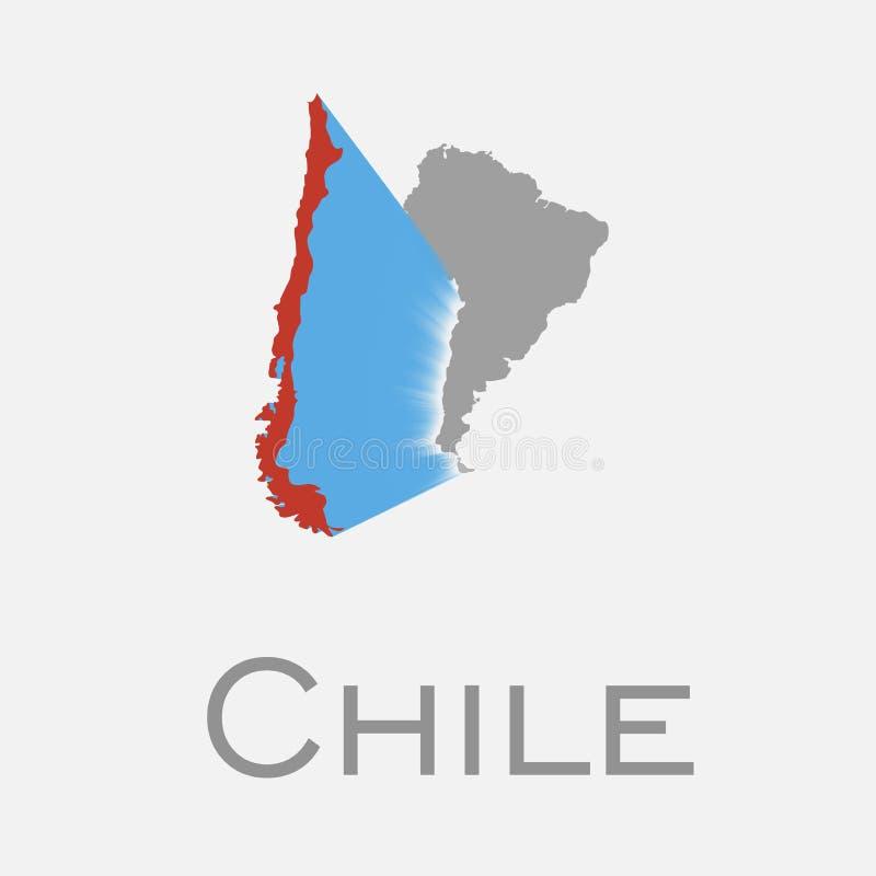 Chile y mapa continente suramericano libre illustration