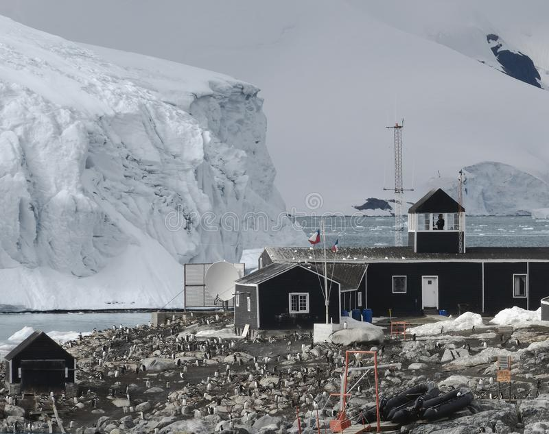Chilean Antarctic Research Base Situated On The Antarctic Peninsula At Paradise Bay, Antarctica.  stock image