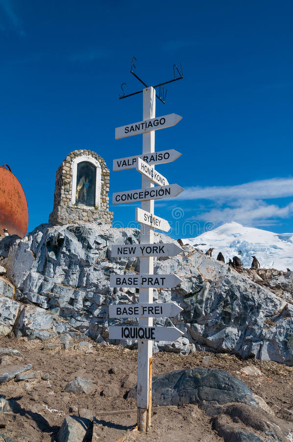 Download Chilean Base Antarctica Directions Pole Stock Image - Image: 39250837