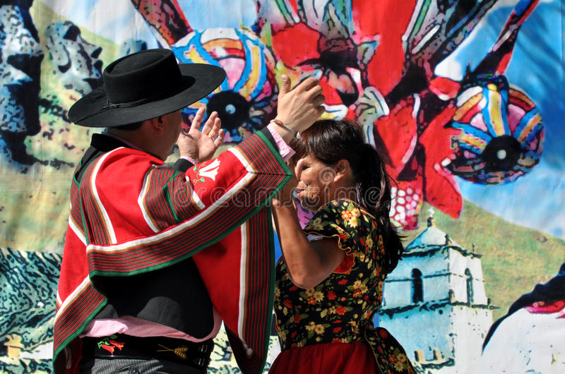 Chilean Dancers. Perform at Edmonton's Heritage Days stock photography
