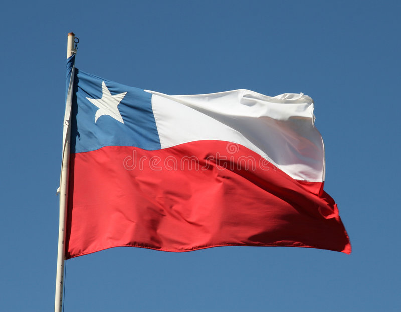 Chilean flag. Waving in the wind stock photo