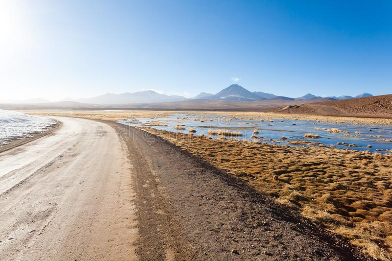 Dirt road perspective view,Chile royalty free stock photography