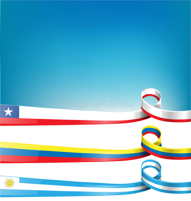 Chilean,uruguayan and colombian flag stock illustration