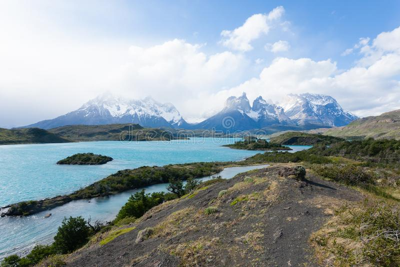 Chilenische Patagonialandschaft, Nationalpark Torres Del Paine stockfotos