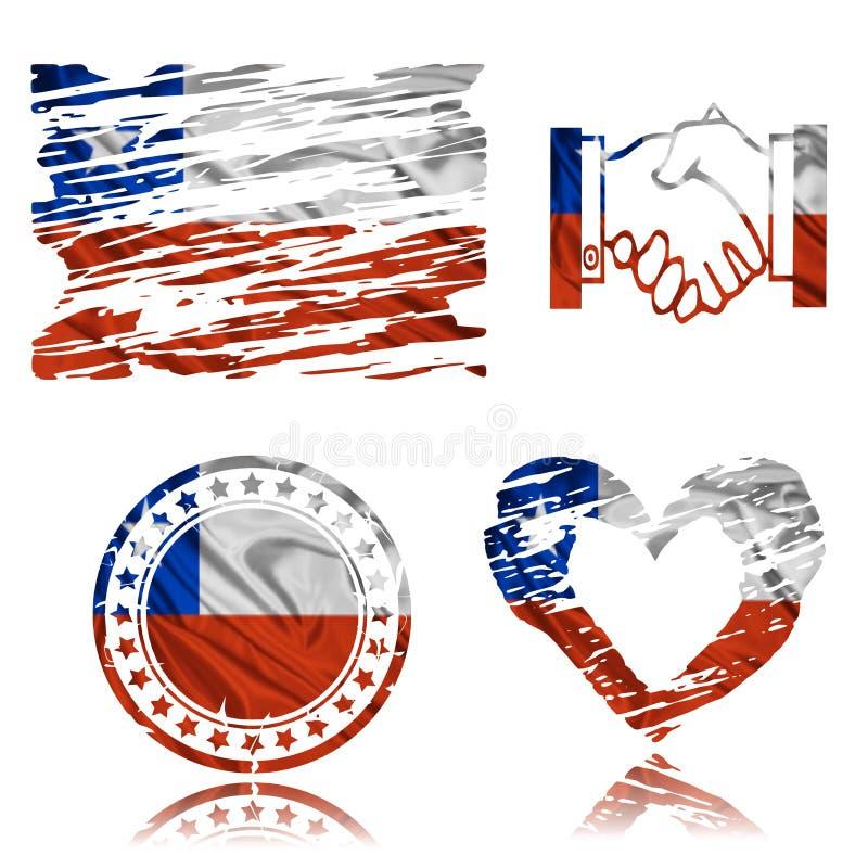 Chilensk flagga, illustration 3D royaltyfri illustrationer