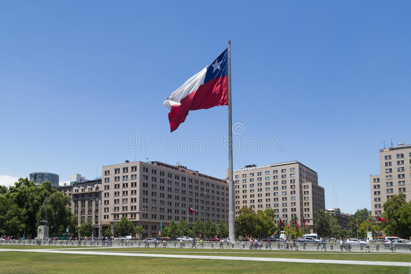 Chilensk flagga, Santiago de Chile royaltyfri foto