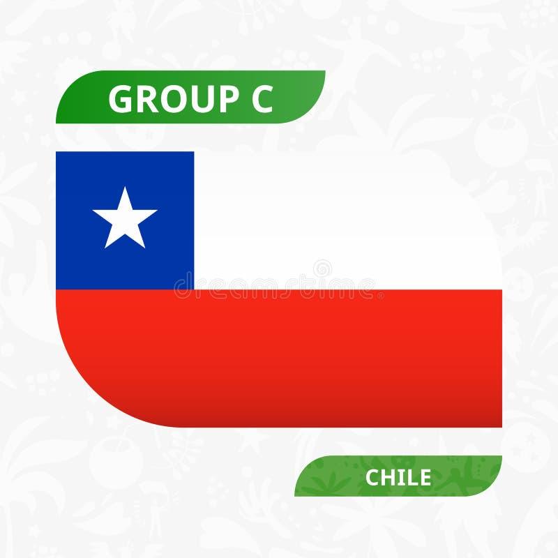 Chilensk lagflagga som göras i fotbollkonkurrensstil royaltyfri illustrationer
