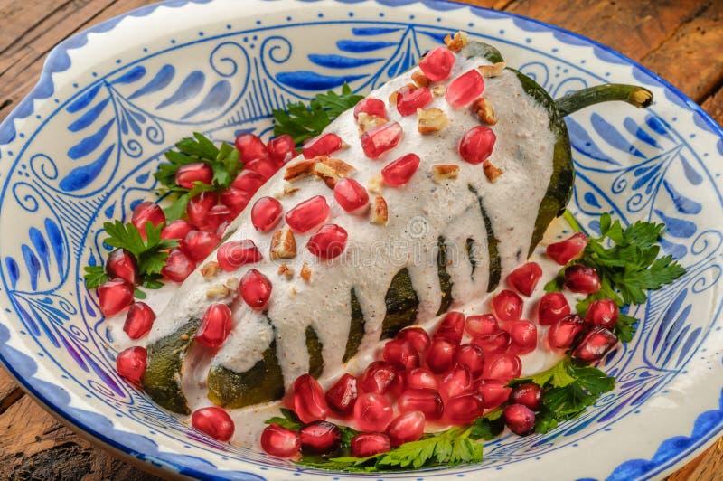 Chiles en nogada Mexican food stock photos