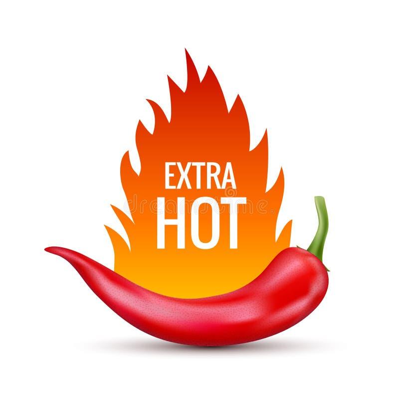 chili świeża gorącego pieprzu czerwień Kuchenny organicznie wektorowy korzenny smaku chili meksykanina pieprz z płomienia ogienie royalty ilustracja
