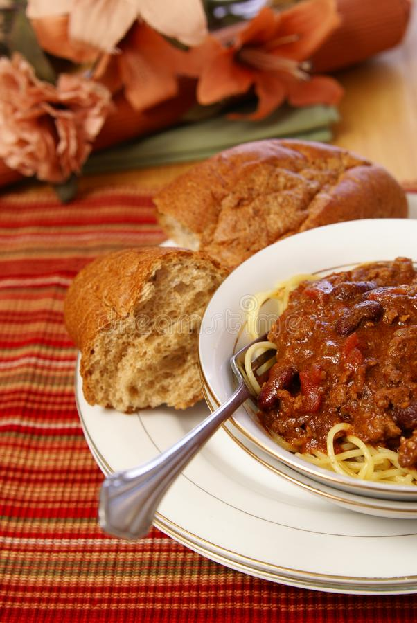 Chili и спагетти Стоковые Фото