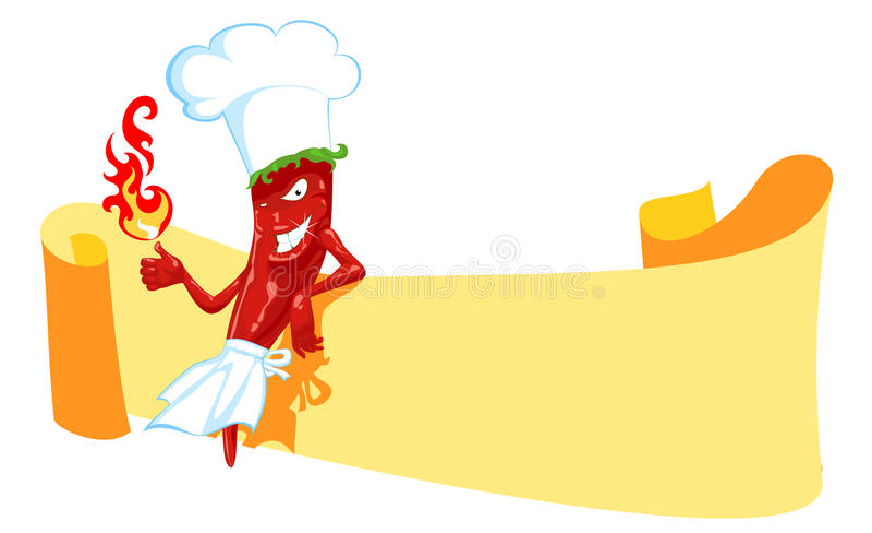 chili шеф-повара знамени иллюстрация штока