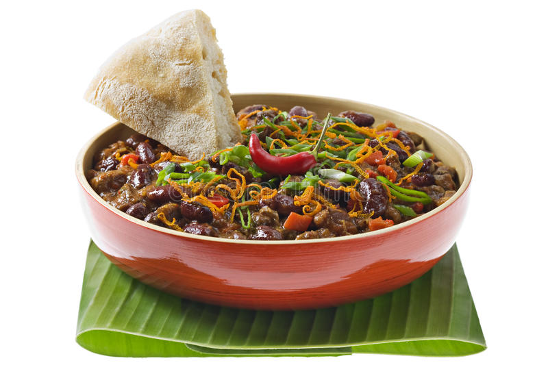 Chili. With Bread, Mexican cuisine in a bowl royalty free stock photo