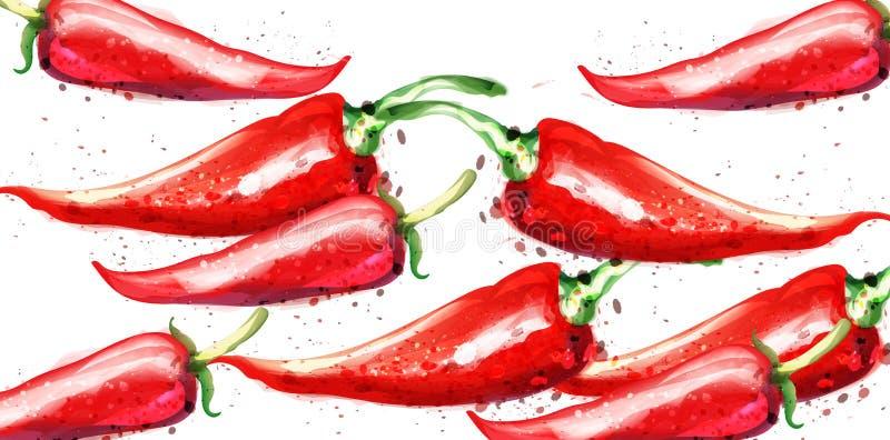 Chili akwareli Wektorowy wzór Menu restauracyjne tekstury na biel ilustracji