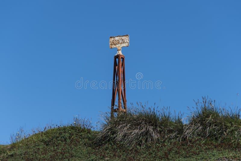 Chili-Argentinië grenslijn, mening van het oude kartel royalty-vrije stock foto