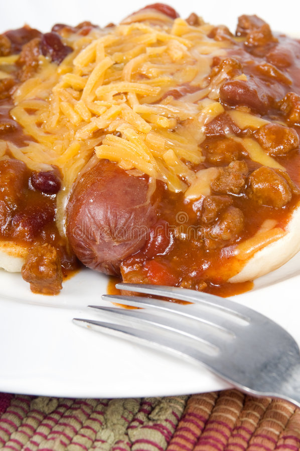 Download Chili cheese Dog stock image. Image of fork, sausage, fast - 6401133