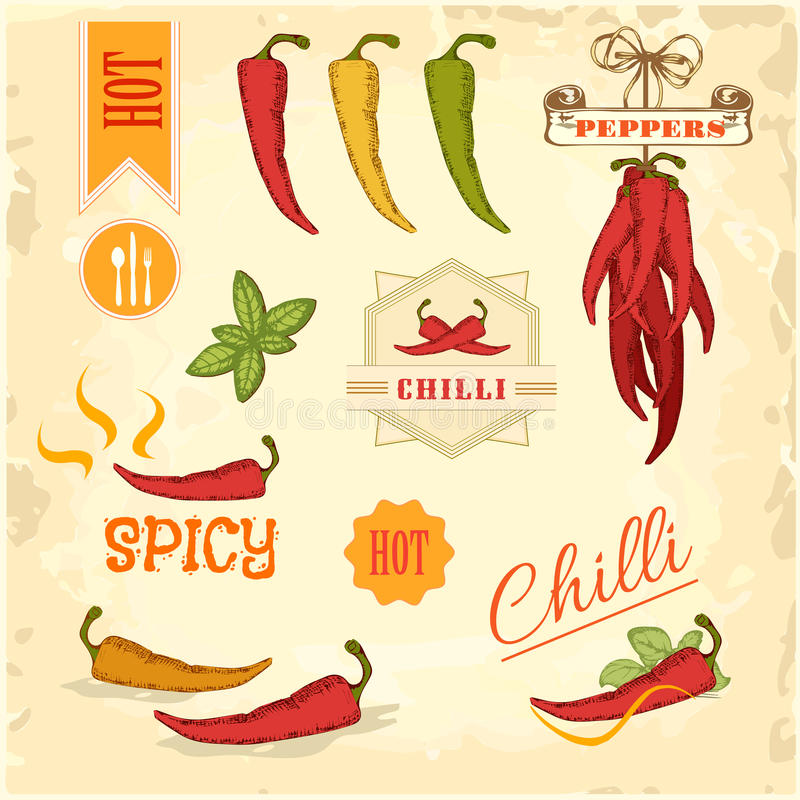 Chili chili, peppargrönsaker, produkt royaltyfri illustrationer