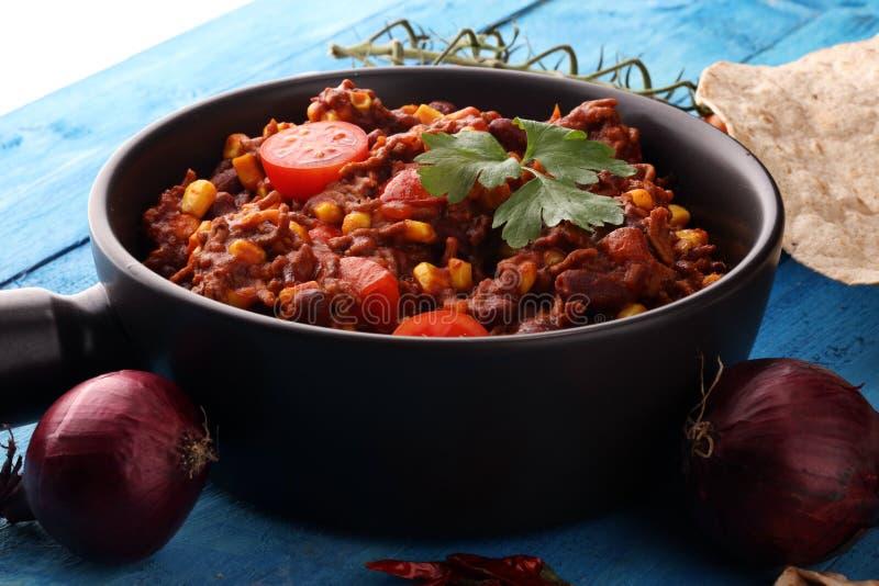 Chili con carne caldo alimento messicano saporito e piccante fotografie stock libere da diritti