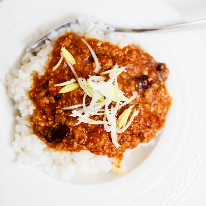 Chili con carne con arroz fotos de archivo