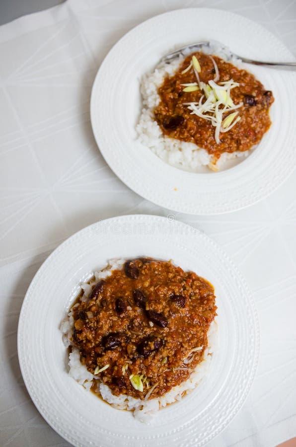 Chili con carne con arroz foto de archivo