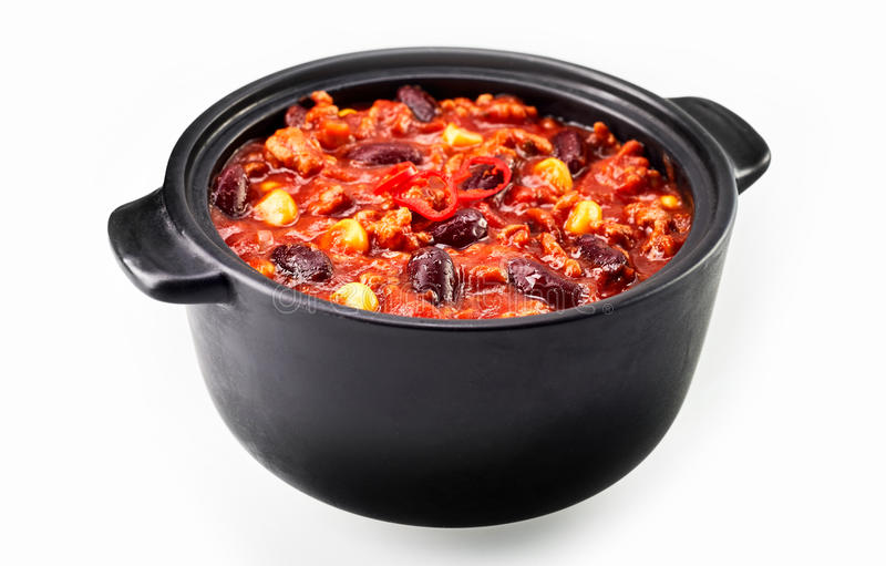 Chili con carne gulasz na bielu fotografia stock