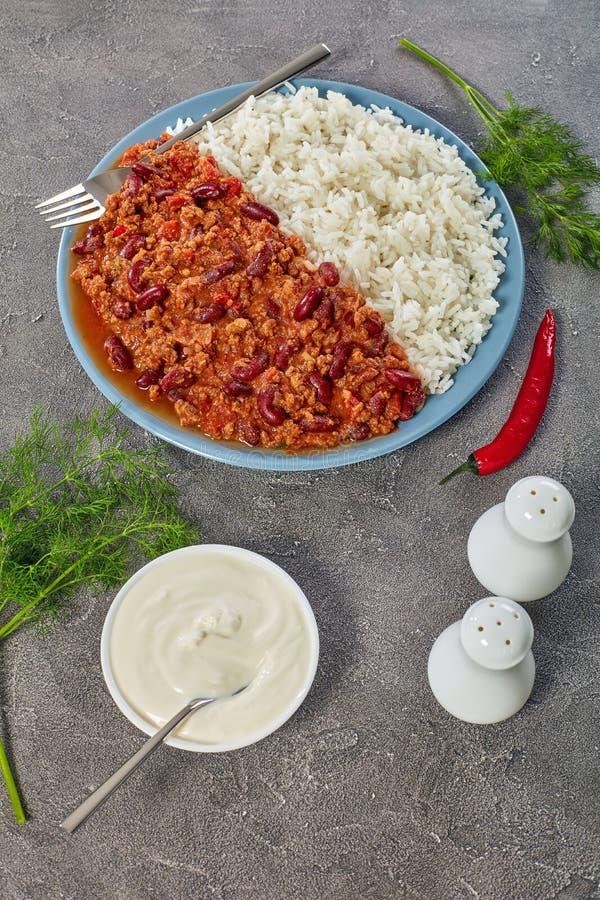 Chili con carne con i fagioli rossi fotografie stock libere da diritti