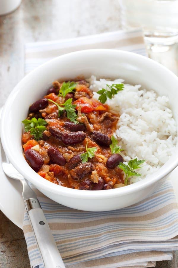 Chili con carne med ris royaltyfri fotografi
