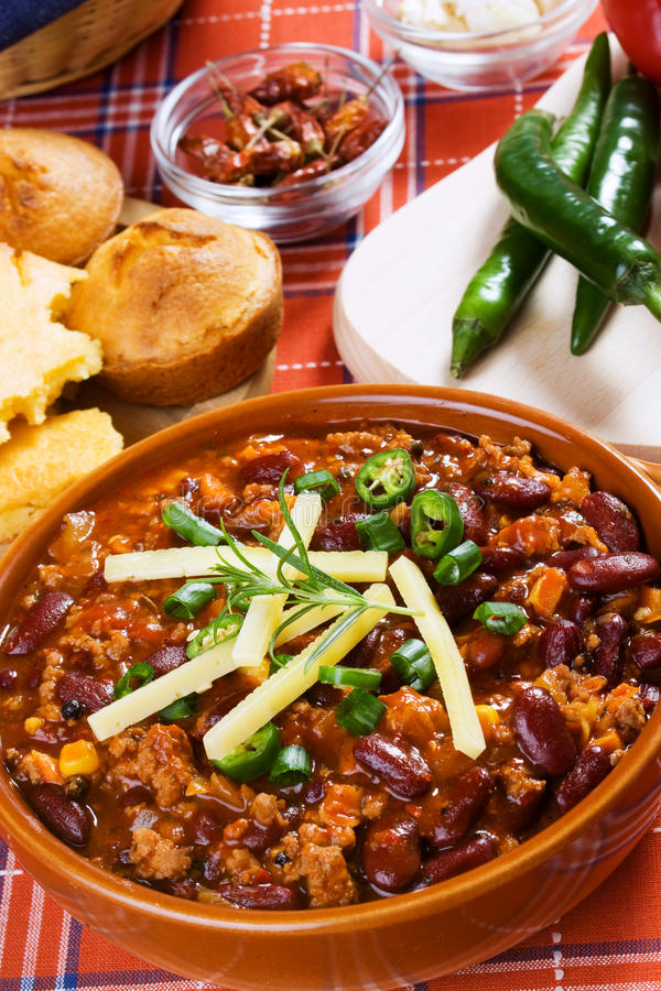 Chili con carne mexicano imagenes de archivo