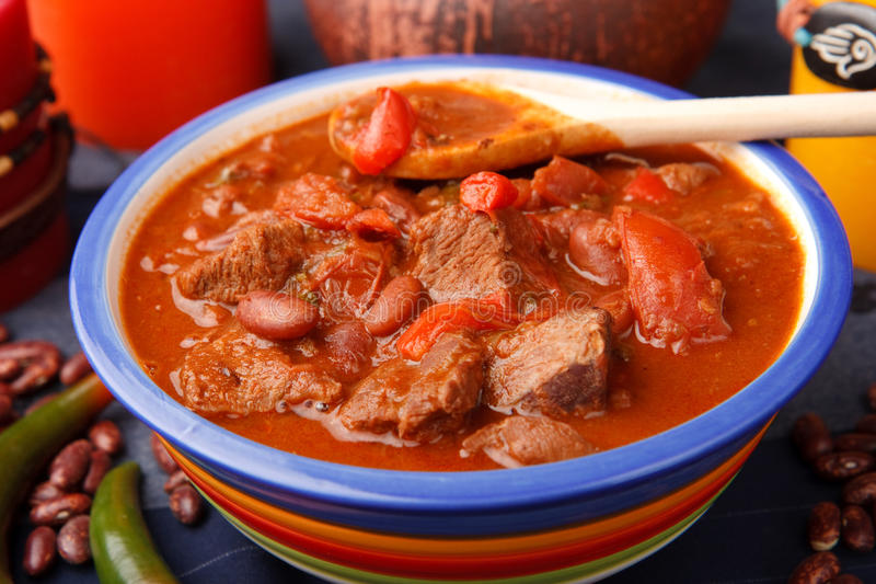 Chili con carne mexicano caliente fotografía de archivo