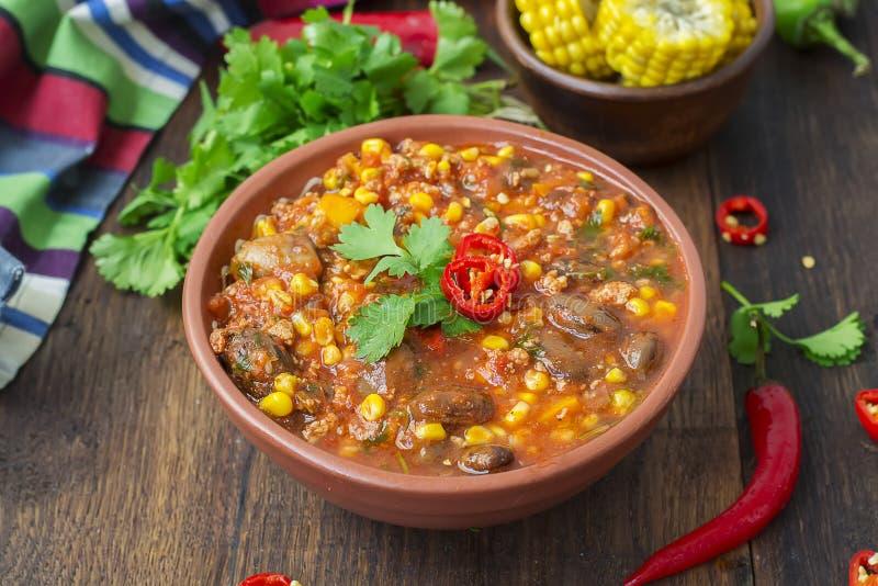 Chili con carne Plato mexicano tradicional fotografía de archivo libre de regalías