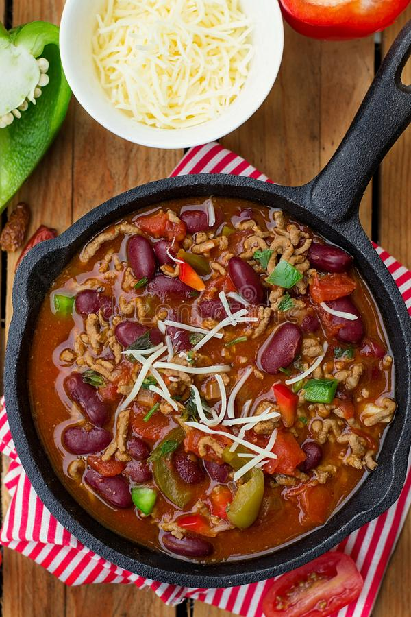 Chili con carne style stew with ground beef and beans stock image