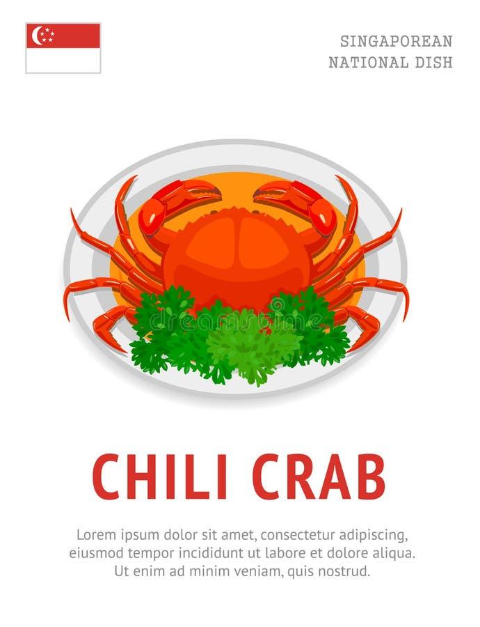 Chili Crab Nationell singaporeanmaträtt royaltyfri illustrationer