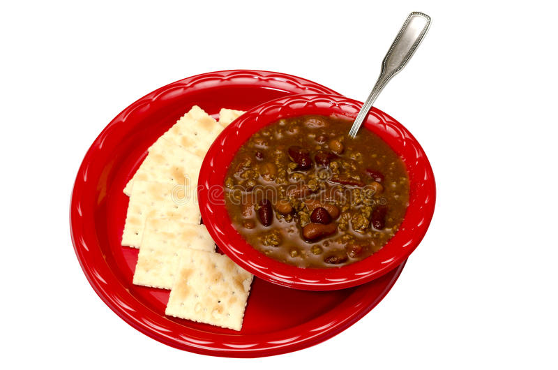 Chili with Crackers Isolated royalty free stock photos