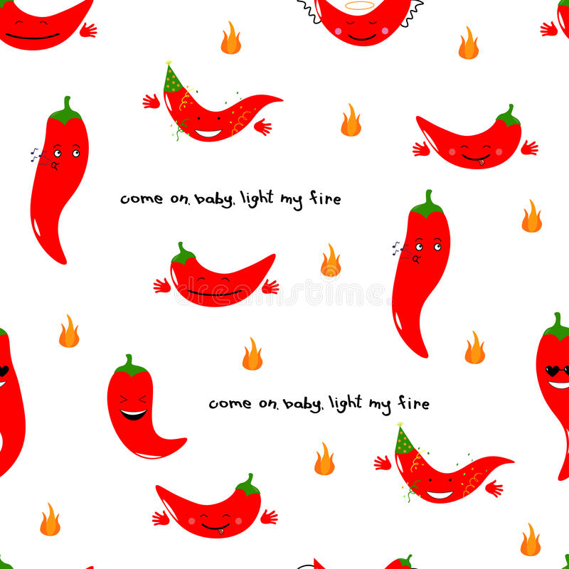 Chili emoji seamless pattern with handwritten quote Come on baby light my fire. Vector illustration. Chili emoji seamless pattern with handwritten quote Come on vector illustration