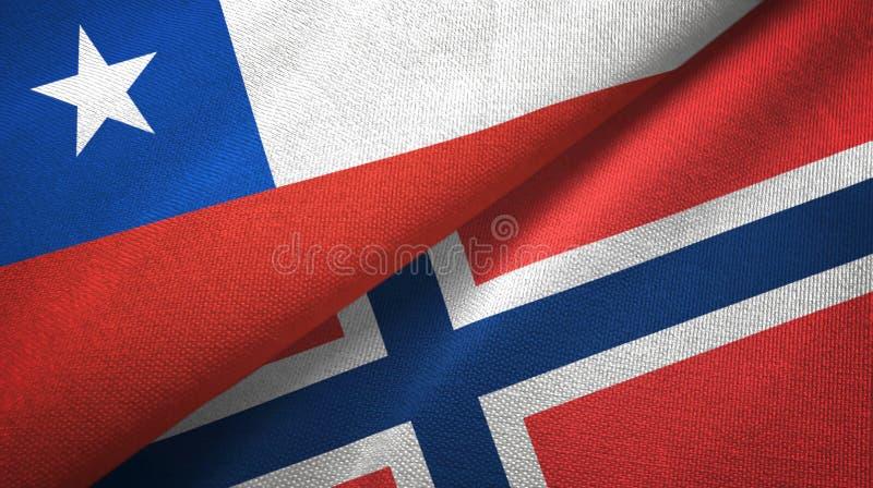 Chili en Noorwegen twee vlaggen textieldoek, stoffentextuur vector illustratie