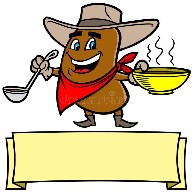 Download Chili fasoli kowboj ilustracja wektor. Ilustracja złożonej z łyżka - 53787685