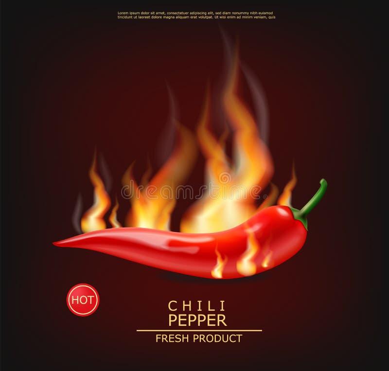 Chili on fire vector realistic. Hot pepper advert concept. Dark background. 3d illustration burning food poster vector illustration