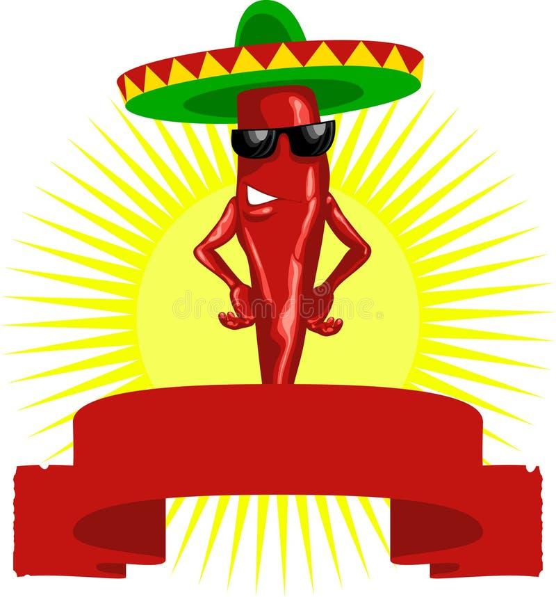 chili gorący etykietki meksykanina pieprz royalty ilustracja