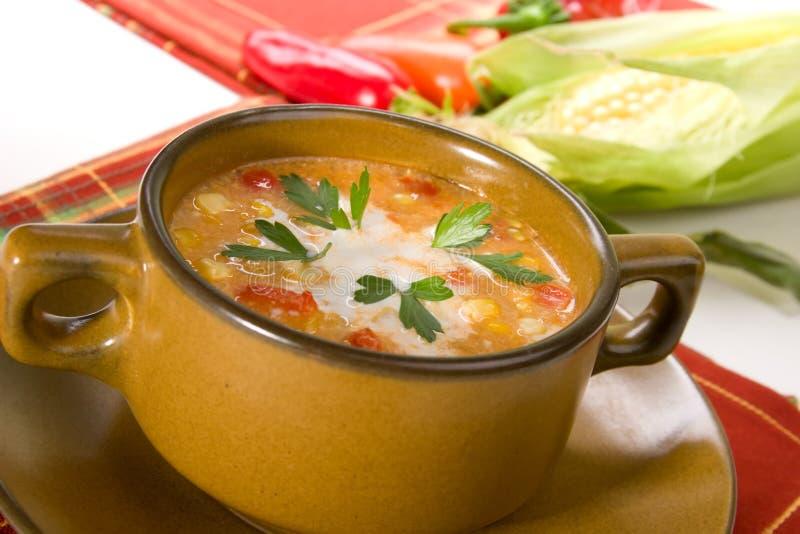 chili grubą zupy rybnej kukurydzę czerwony obrazy stock