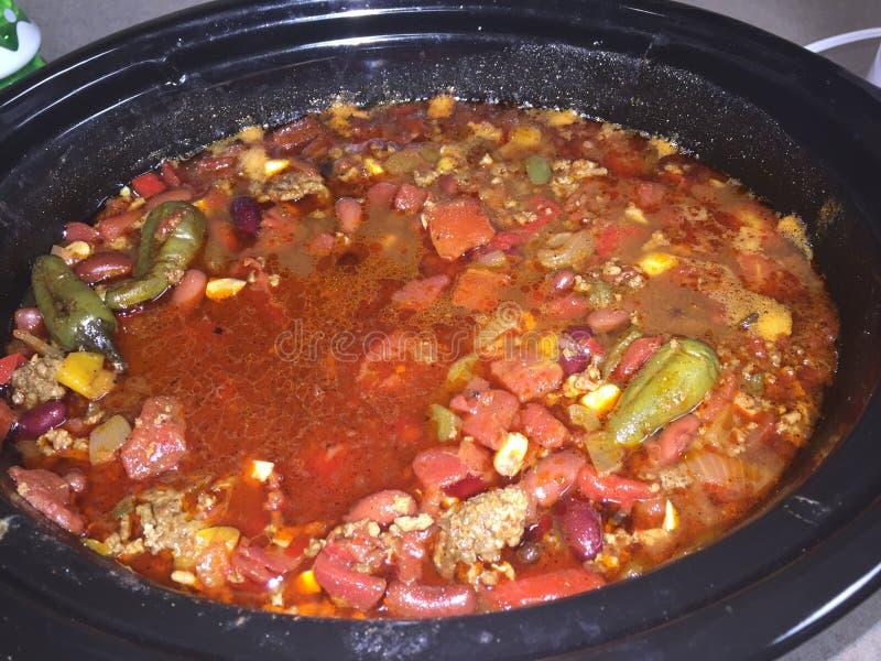 Chili Homemade com feijões fotografia de stock