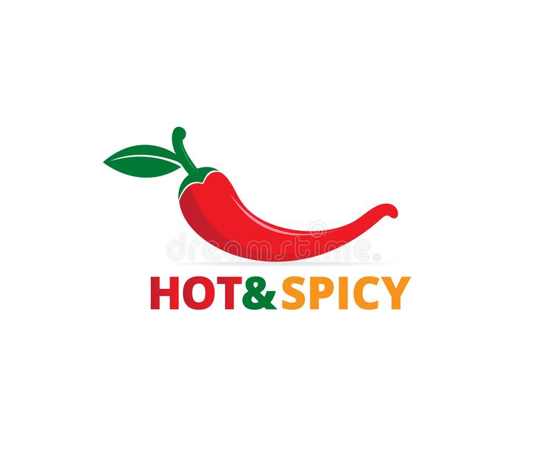 Chili hot and spicy food vector logo design inspiration. For mexican cuisine brand royalty free illustration