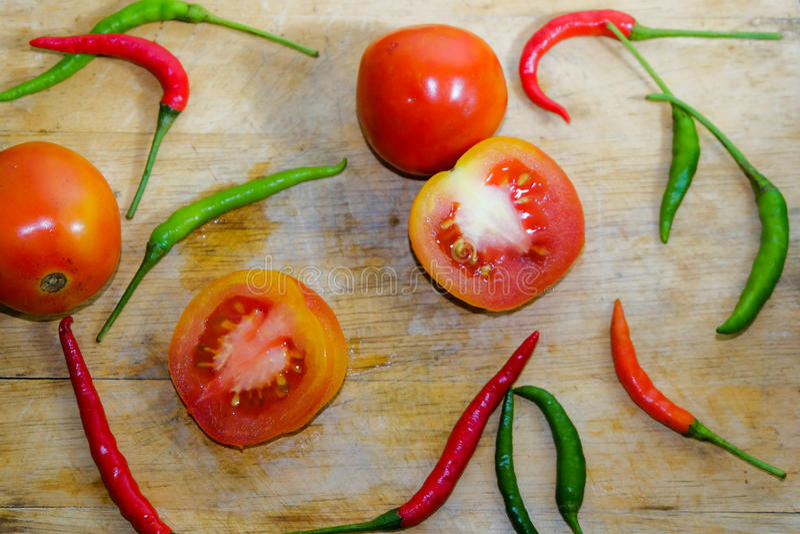 Chili i pomidor fotografia royalty free