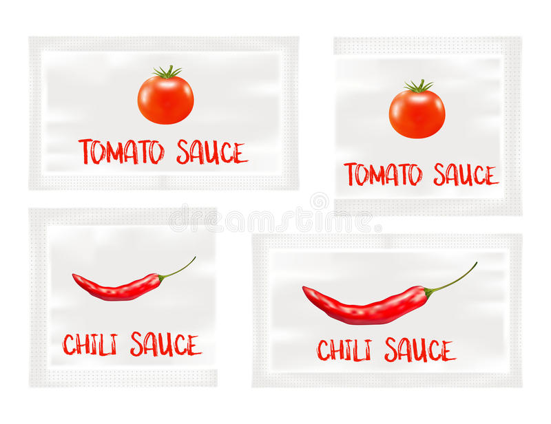 Chili i pomidorowego kumberlandu białe plastikowe saszetki royalty ilustracja