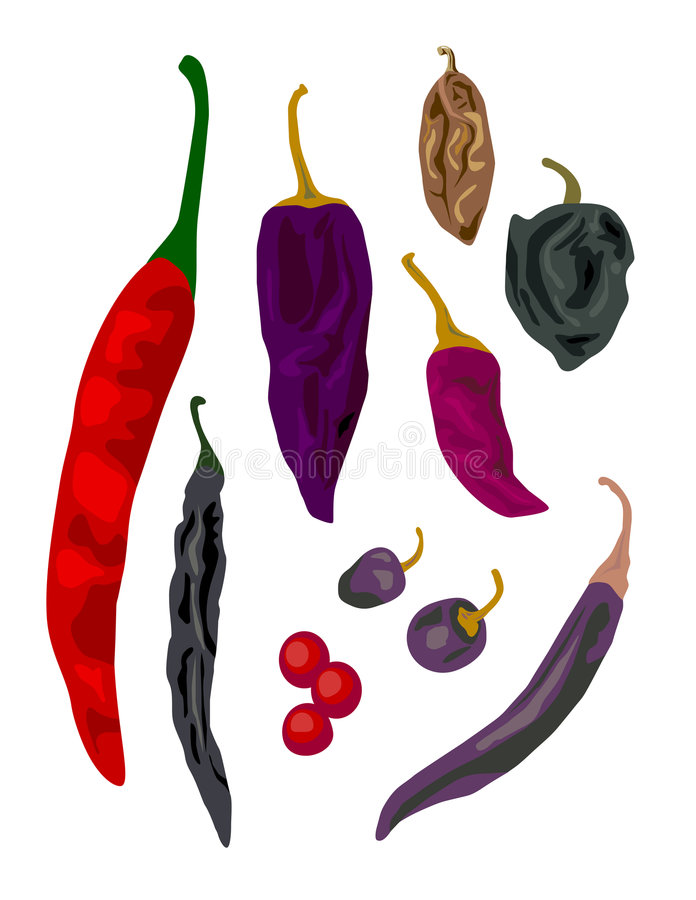 chili isolerade peppar royaltyfri illustrationer