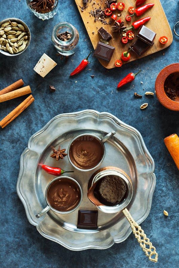Chili Mexican Aztec Hot Chocolate épicé image libre de droits