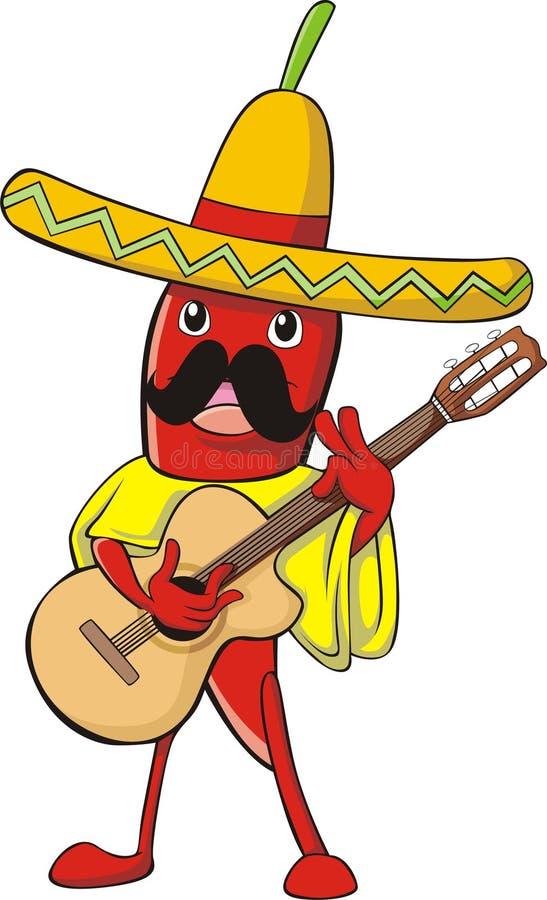 Chili in Mexican Costume vector illustration