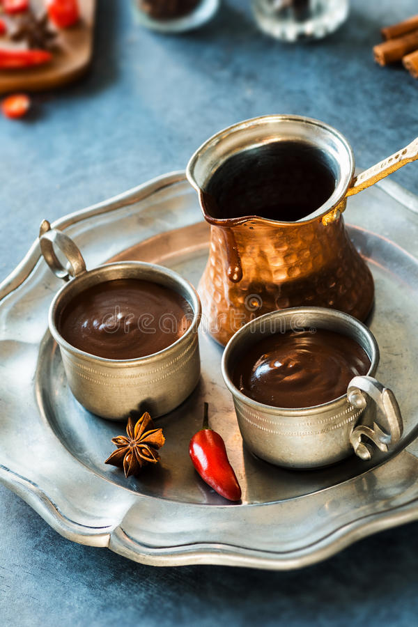 Chili Mexican Hot Chocolate piccante immagini stock libere da diritti