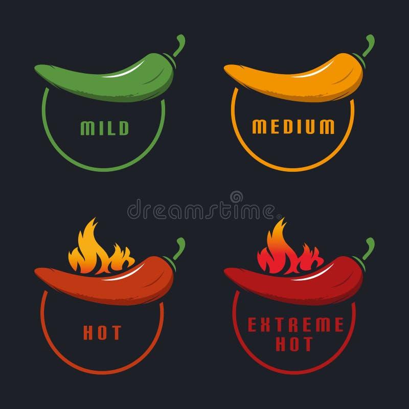 Chili Mild, medio, caliente, extremo caliente con la llama - ejemplo colorido del vector - aislada en fondo negro ilustración del vector
