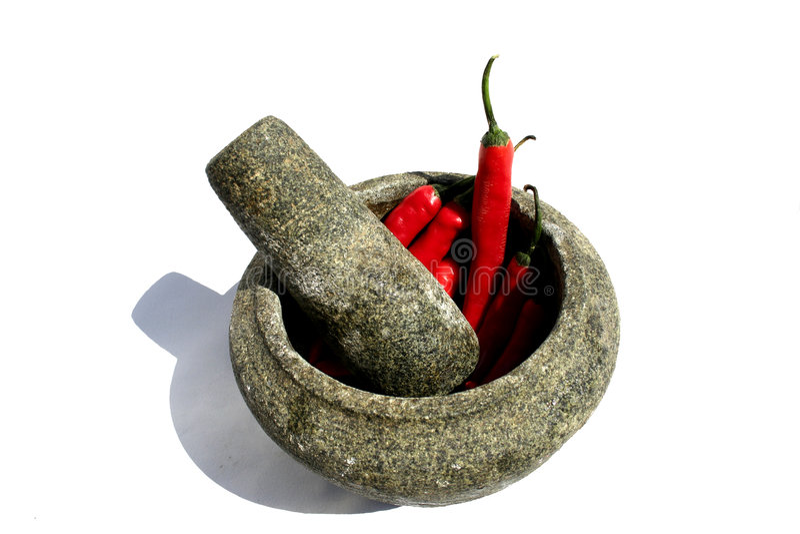 chili moździerza czerwień obrazy stock