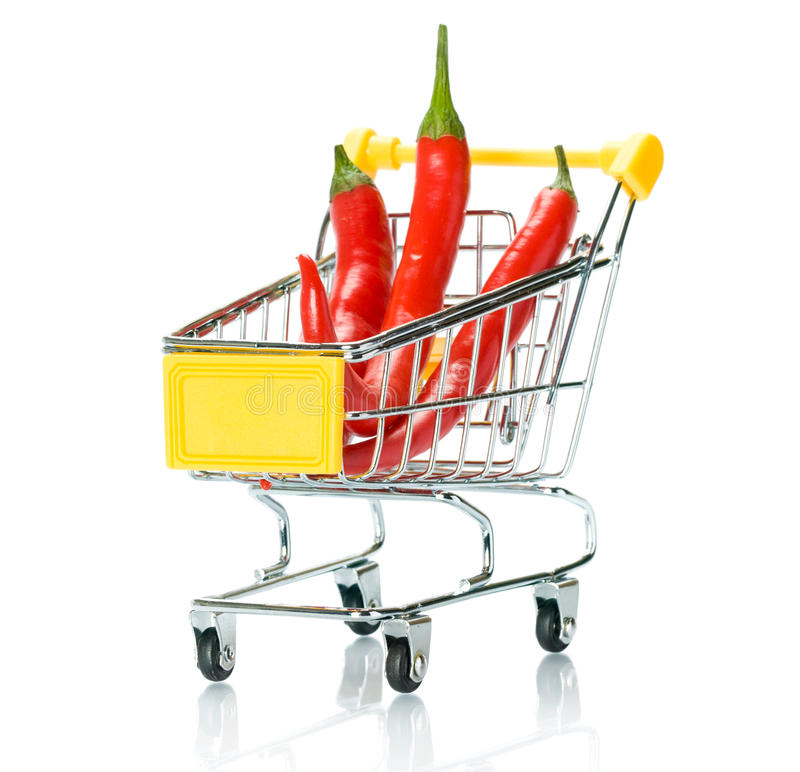 Download Chili Papper In The Shopping Cart Stock Photo - Image: 18291484